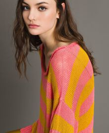 """Maxi jumper with slits """"Coral Geranium"""" Red / """"Honey Gold"""" Striping Woman 191TT3150-04"""