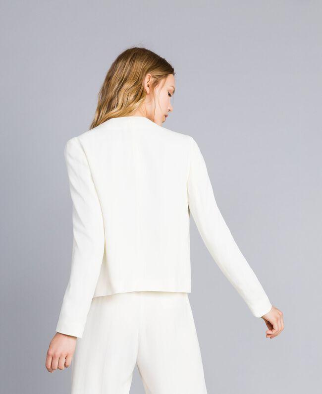 Jacke aus Envers-Satin Weiß Schnee Frau TA824G-03