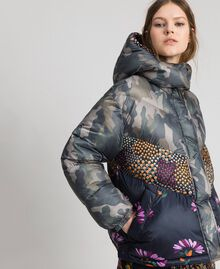 Short puffer jacket with camouflage and floral print Camouflage Print / Floral Woman 192TT2180-03