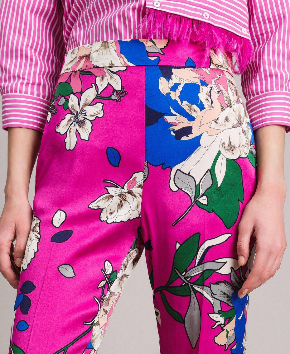 Pantalon de jogging en satin floral Imprimé Anémone Sylvie Rose Femme 191TP2473-05