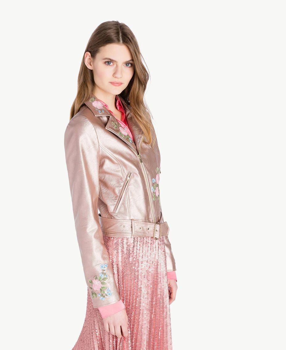"Embroidered biker jacket Metallic ""Hydrangea"" Pink Woman PS82Q1-02"