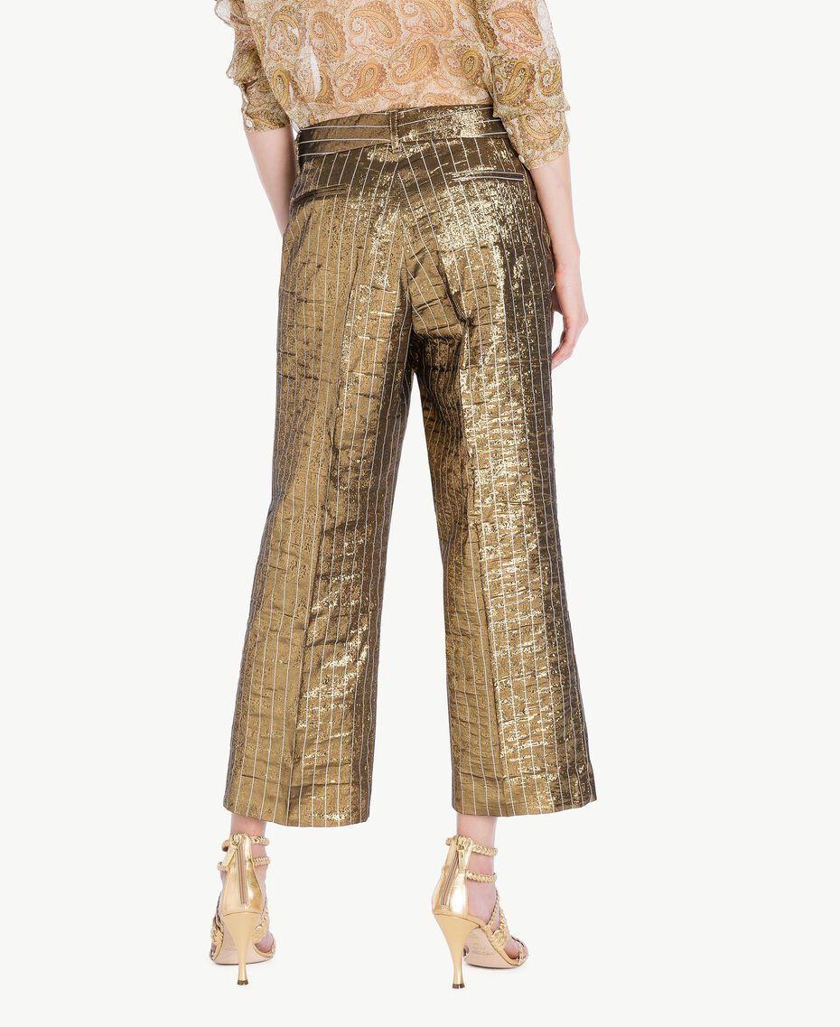 Cropped-Hose aus Jacquard Jacquard Gold / Metallic-Elfenbein Frau TS826P-03