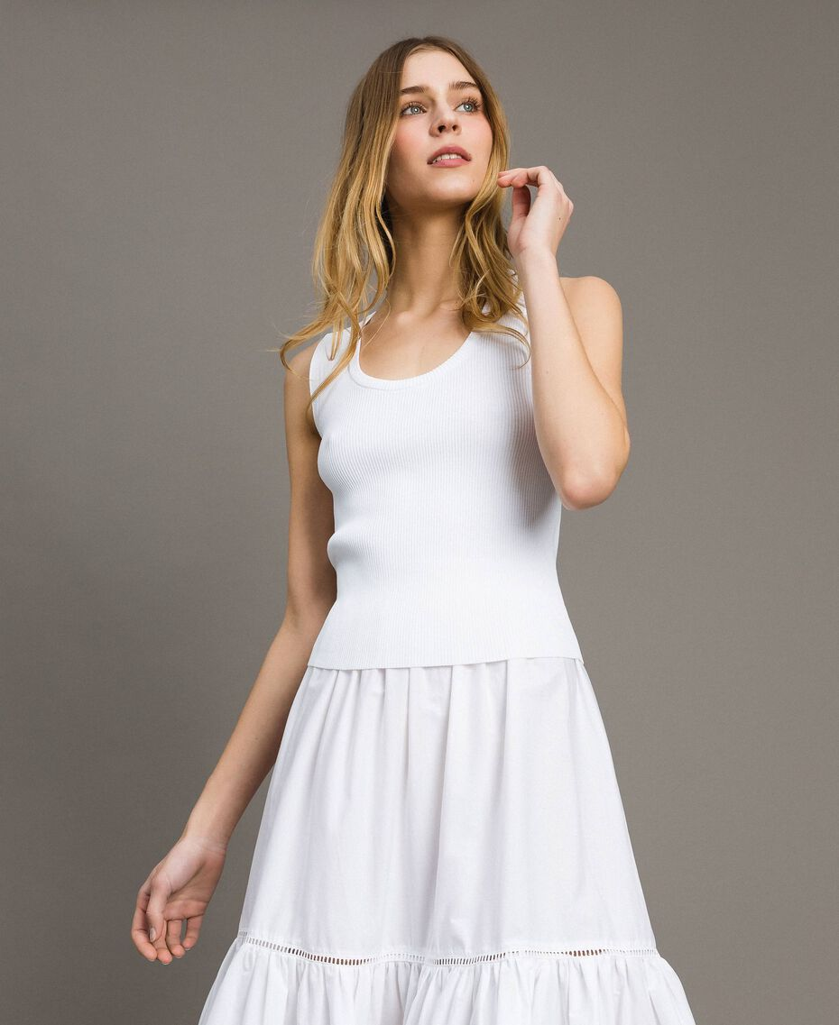 """Top en maille côtelée Bicolore Blanc Optique / Jaune """"Jus de Citron"""" Femme 191LL36EE-02"""