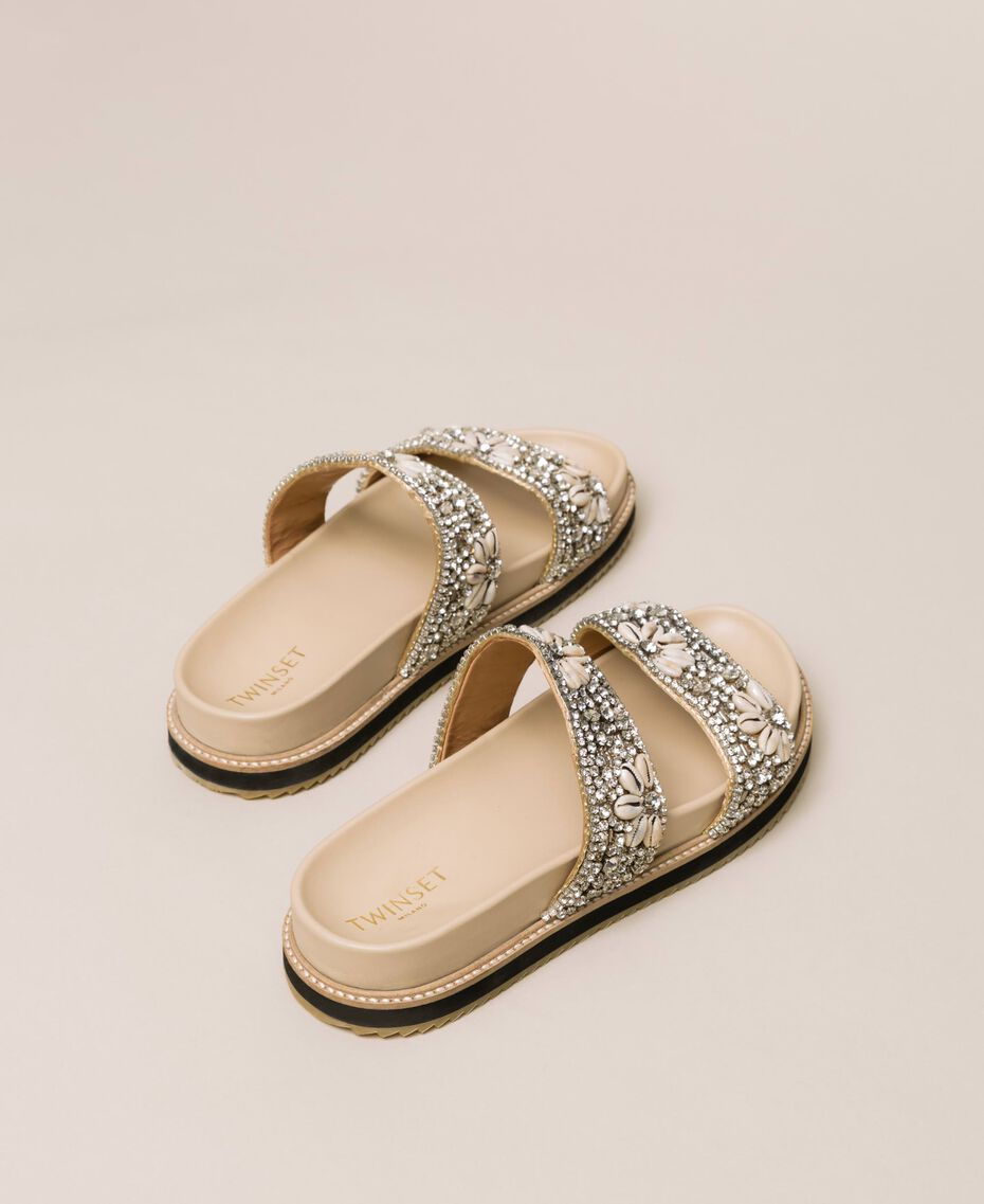 Leather sliders with embroidery Nougat Beige Woman 201TCT022-03