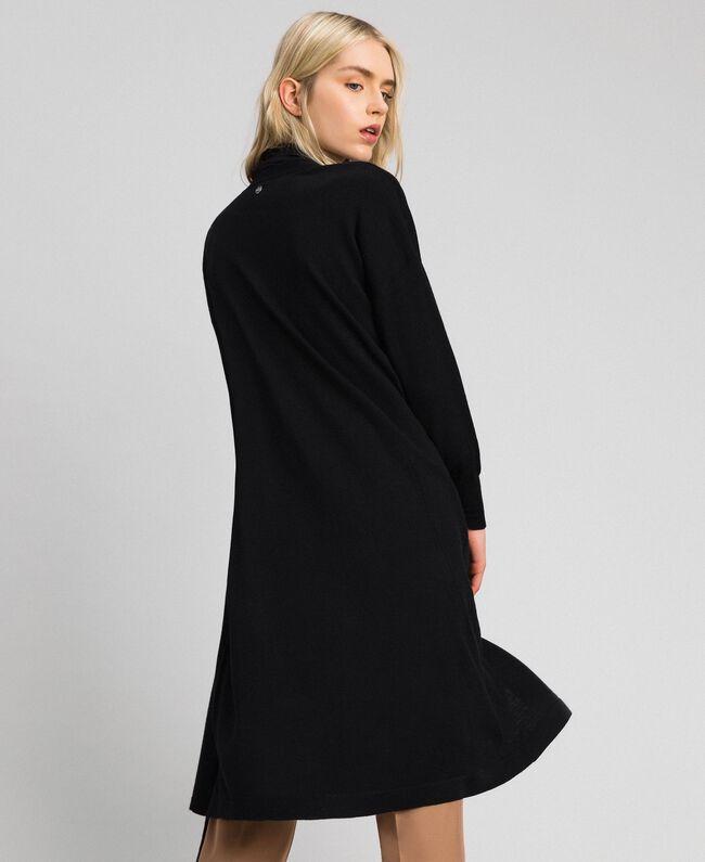 Maxi cardigan en laine mélangée Noir Femme 192ST3161-04