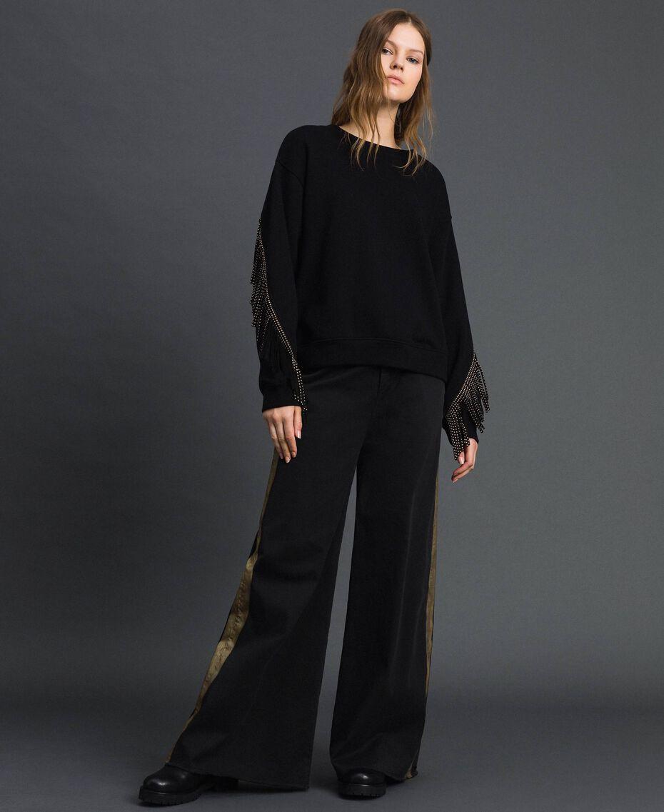 Boxy sweatshirt with fringes Black Woman 192MP2230-02