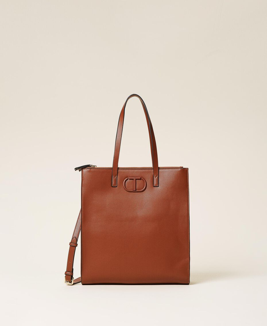 Vertical shopper with logo Leather Brown Woman 212TB7060-01