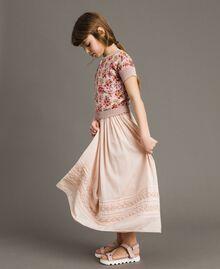 Cardigan-Pullover aus Lurex mit Blumenmuster Motiv Miniblumen Kind 191GJ3050-0S