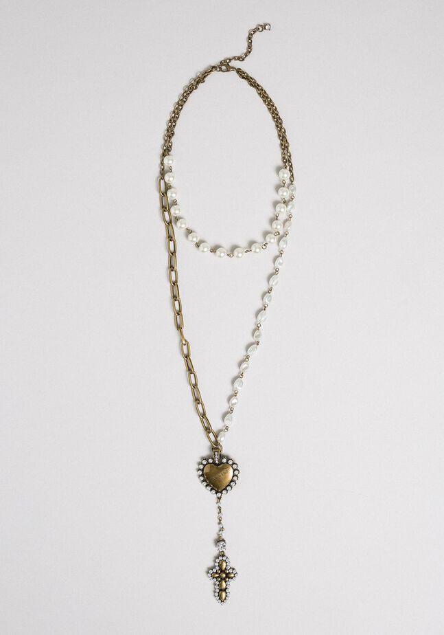 Collana rosario con catene, cuore e croce