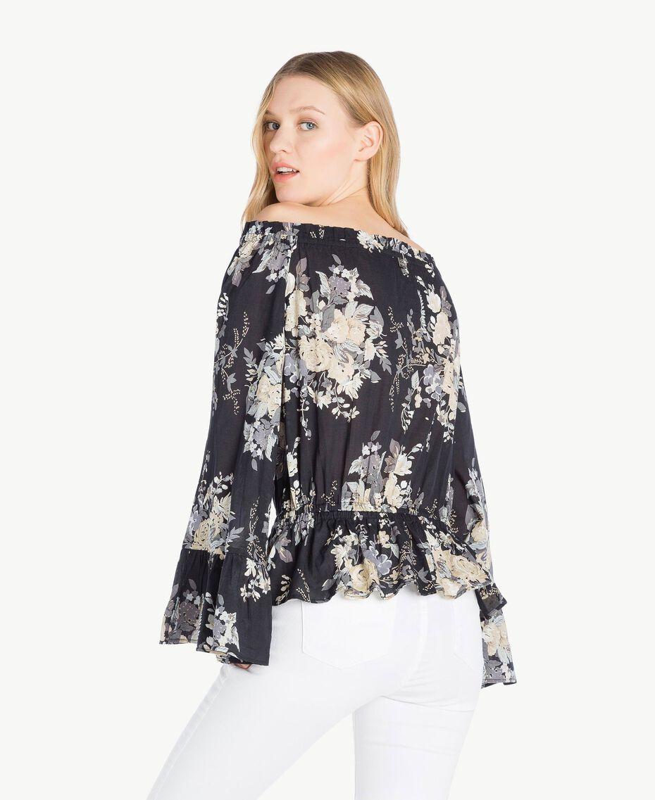 Bluse mit Print Blumenbouquetprint Schwarz Frau YS82PF-03