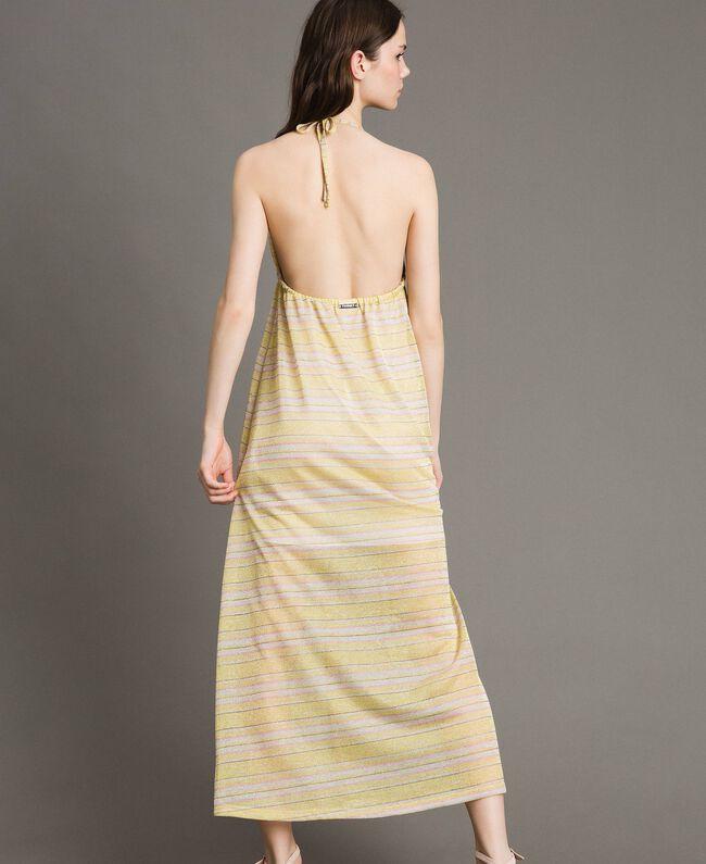 """Robe longue avec rayures lurex Rayures Multicolores Marron """"Poudre De Bronze"""" / Jaune """"Jus De Citron"""" Femme 191LB2AFF-03"""