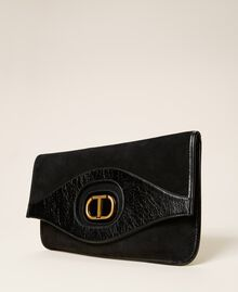 Folded leather clutch Black Woman 212TB7171-01