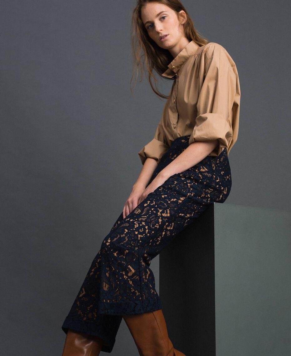 Pantalon évasé en dentelle macramé Beige «Séquoia» / Bleu Nuit Femme 192ST208D-05