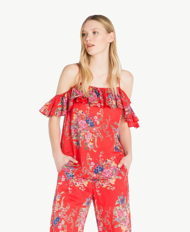 Printed top Red Flower Bouquet Print Woman YS82PK-01