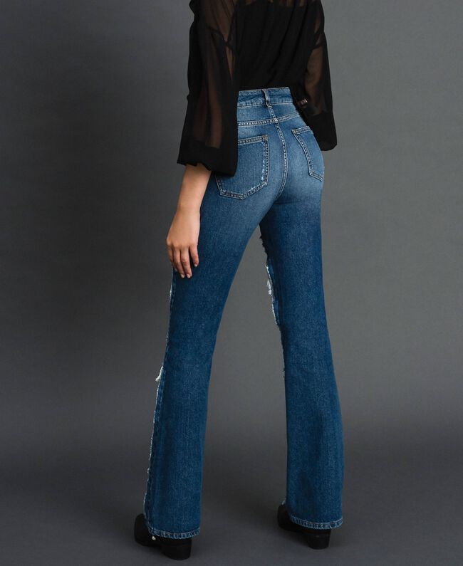 Jeans bell bottom con pizzo Denim Blue Donna 192MT2450-03