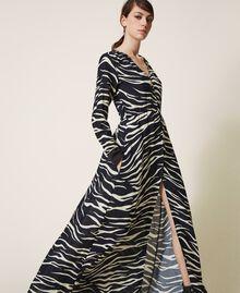 Animal print crêpe de Chine dress Black / Cream White Zebra Print Woman 202MP2430-02