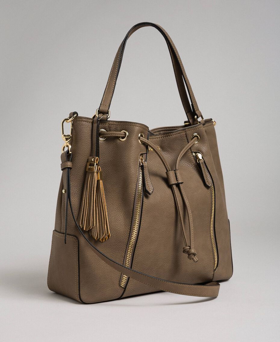 Large faux leather bucket bag Turtledove Woman 192TA7144-02