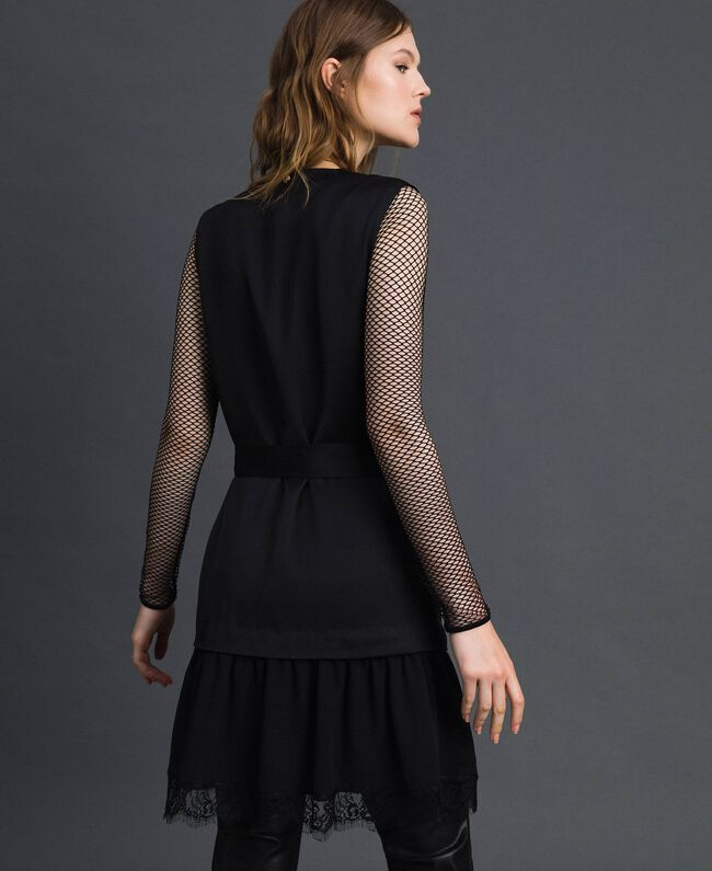 Bow dress with lace flounce Black Woman 192MP2351-03