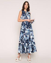 Длинное платье из набивного поплина Принт Тропический Горошек Синий / Виши женщина 201TP2552-01