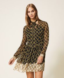 Creponne dress with chain print Black / Ivory Large Chain Print Woman 202TT221C-01
