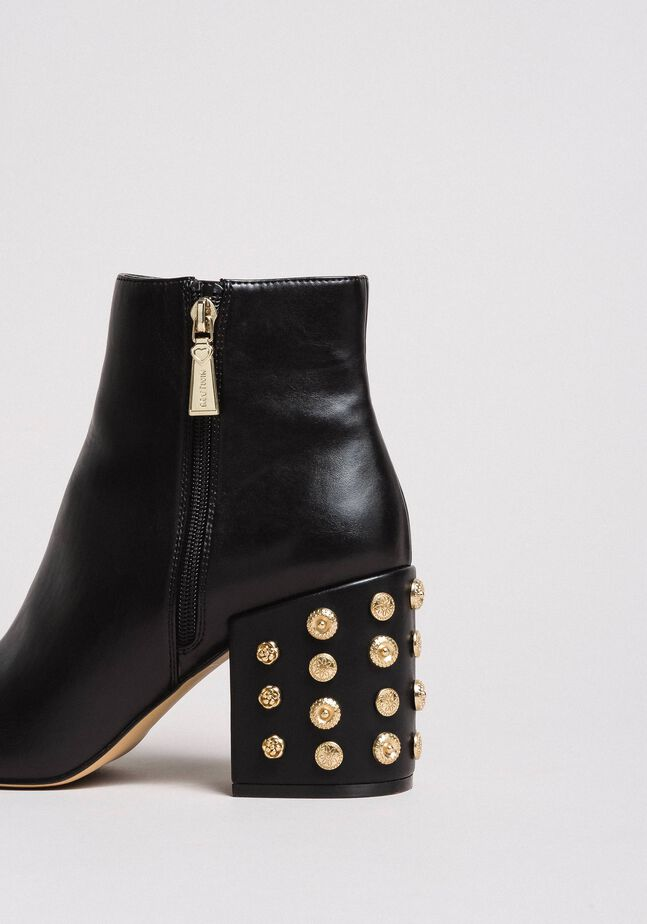 Faux leather ankle boots with jewelry heels