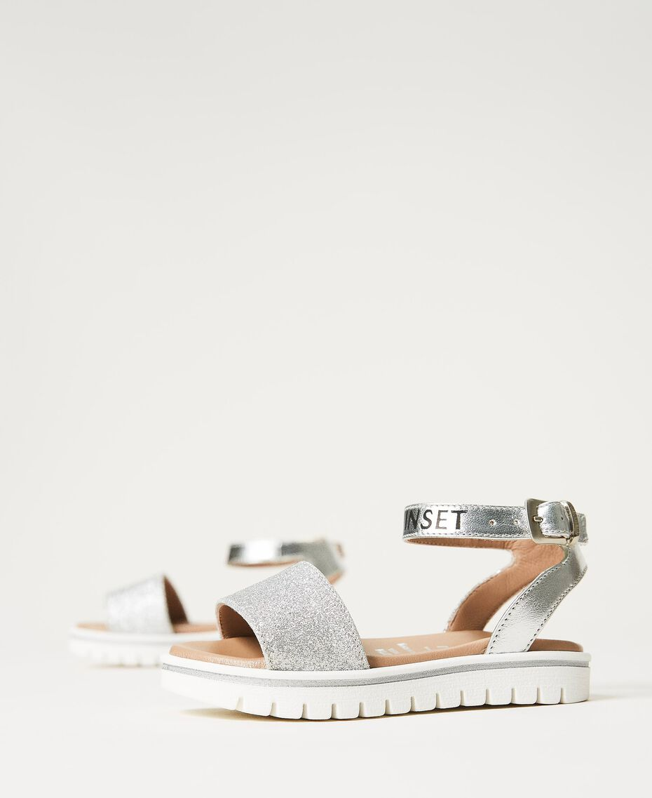 Laminated leather sandals with glitter Laminated Silver Grey Child 211GCB100-02