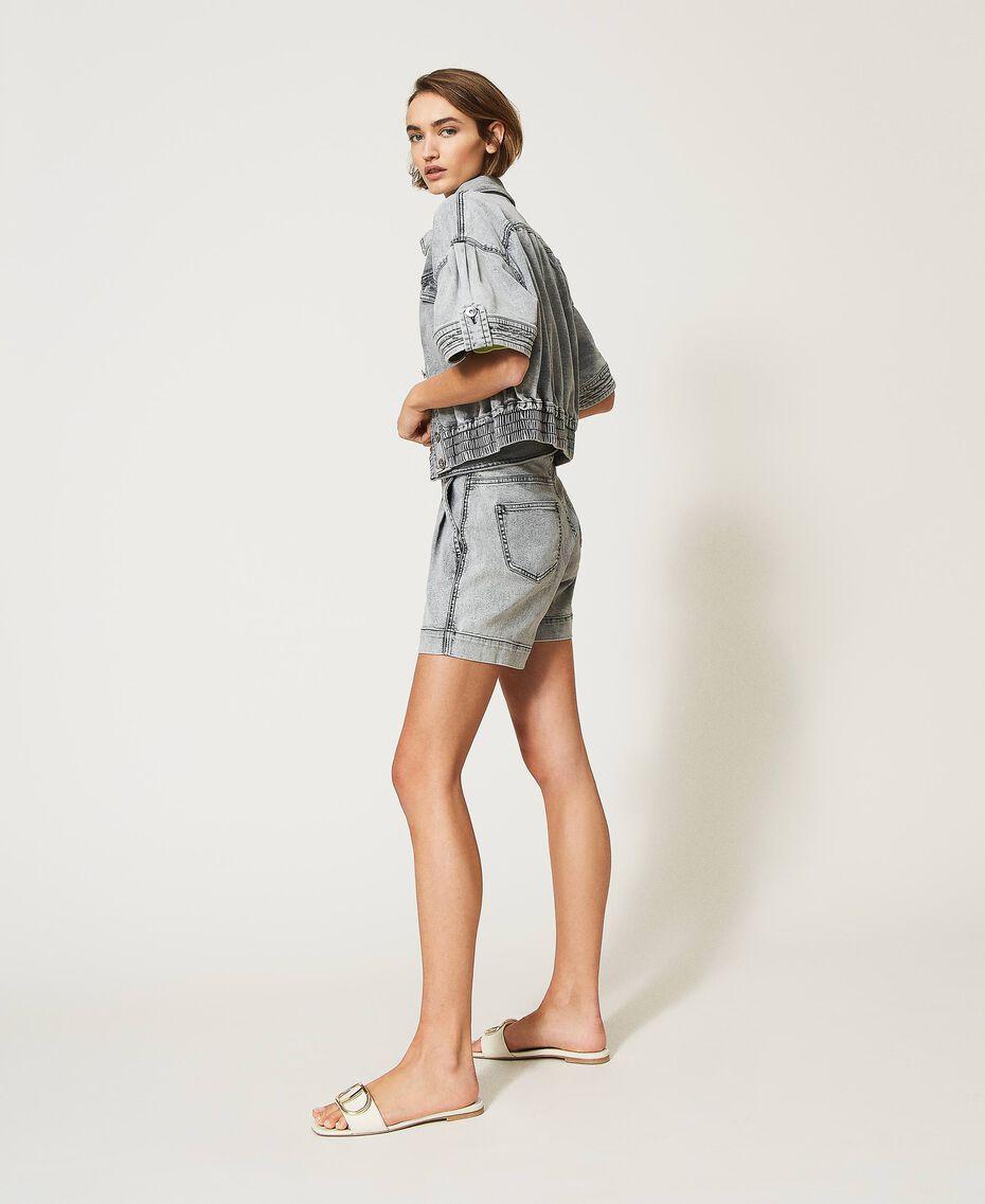 Short taille haute en jean Denim Gris Femme 211MT2567-02