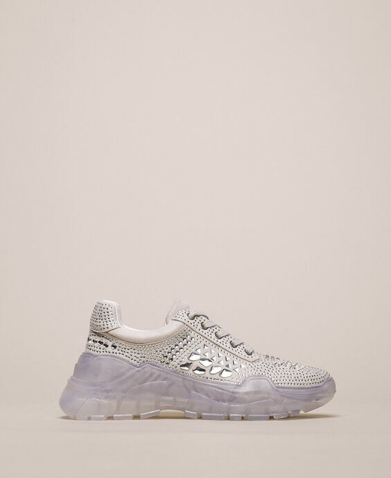 Suede running shoes with rhinestones