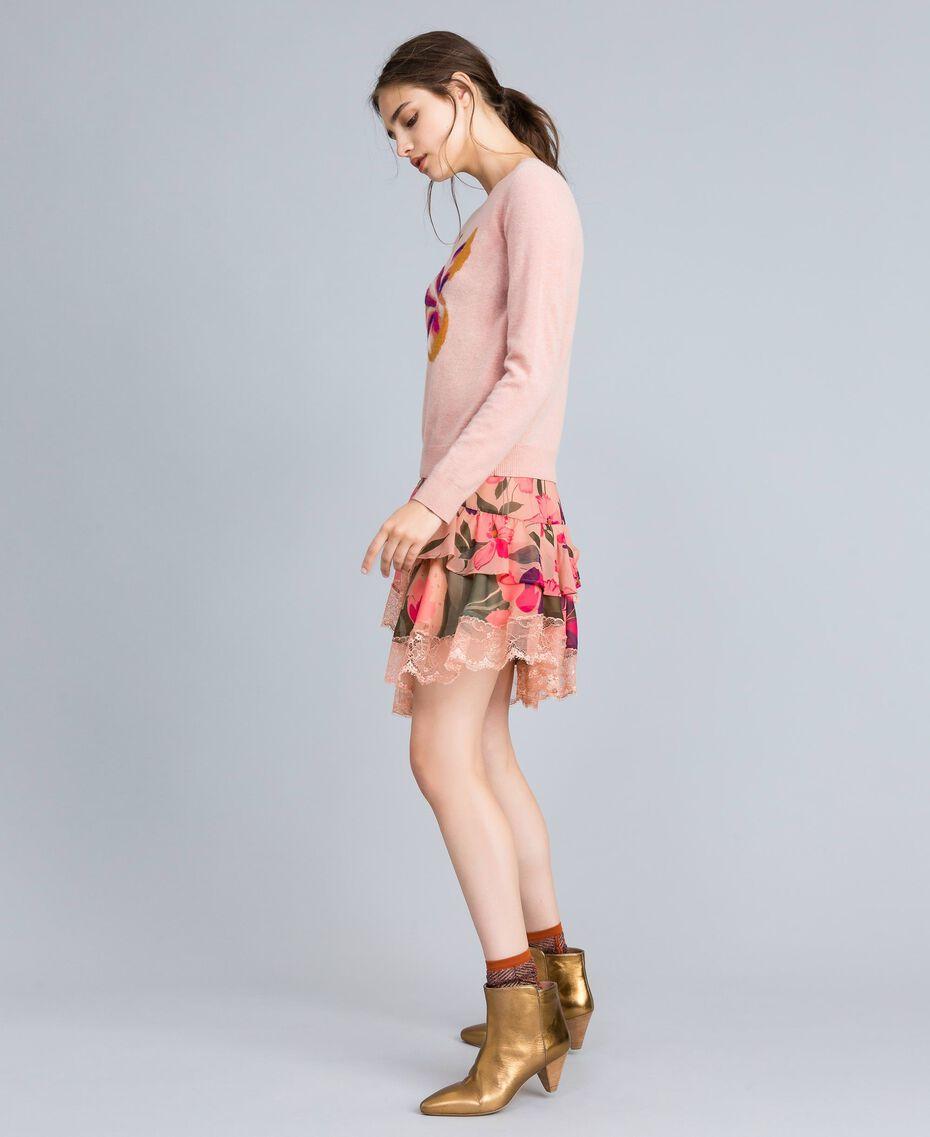 Jupe en mousseline avec imprimés floraux Imprimé Rose Tulipe «Tea Garden» Femme TA829A-02