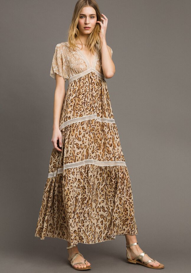 Maxikleid mit Animal-Print