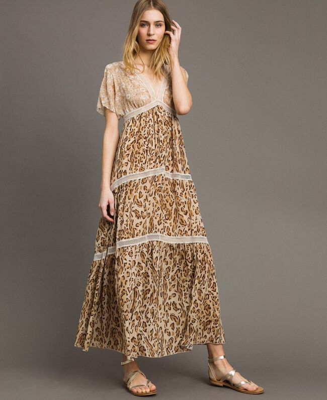 "Animal print long dress ""Petra Sandstone"" Brown Animal Print Woman 191LM2UGG-01"