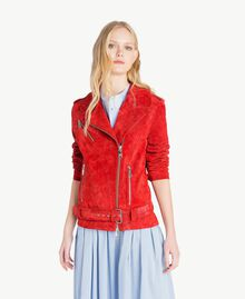 Suede biker jacket Vermilion Red Woman JS82AA-01