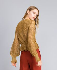 Pullover aus Lurex mit Netzmuster Gold Gelb Frau TA83EB-03