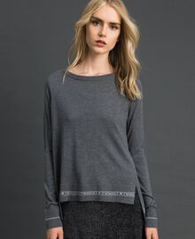 Silk and cashmere jumper with logo Melange Grey Woman 192TP3151-01