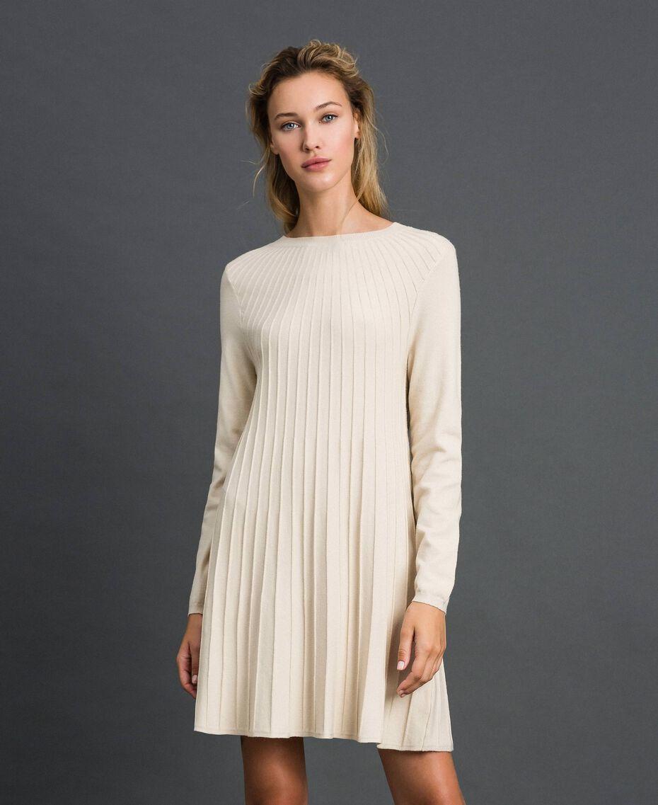 Abito in maglia plissé Bianco Panna Donna 192ST3170-02