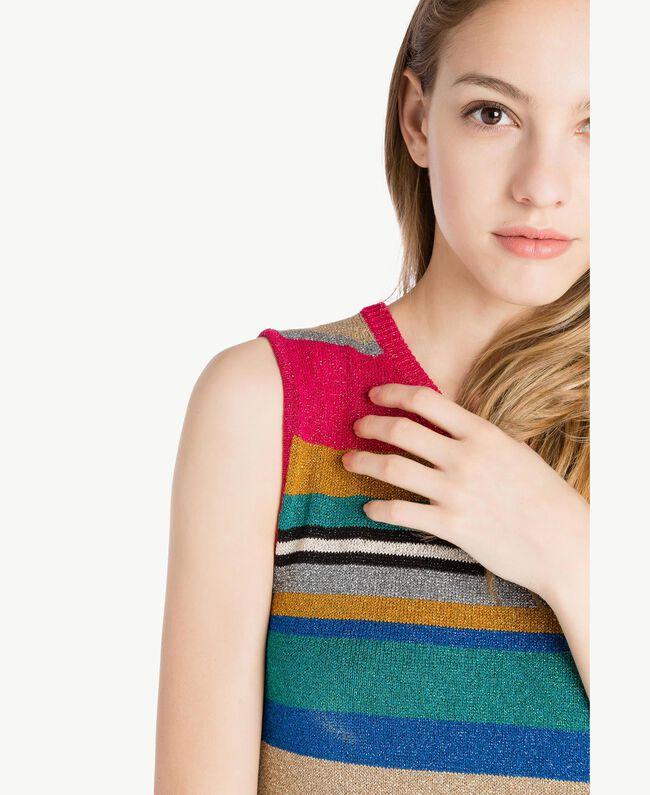 Kleid mit Lurex Multicolor-Lurexstreifen Frau TS833N-04