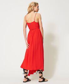 """Long silk blend dress """"Coral"""" Red Woman 211TT2142-04"""