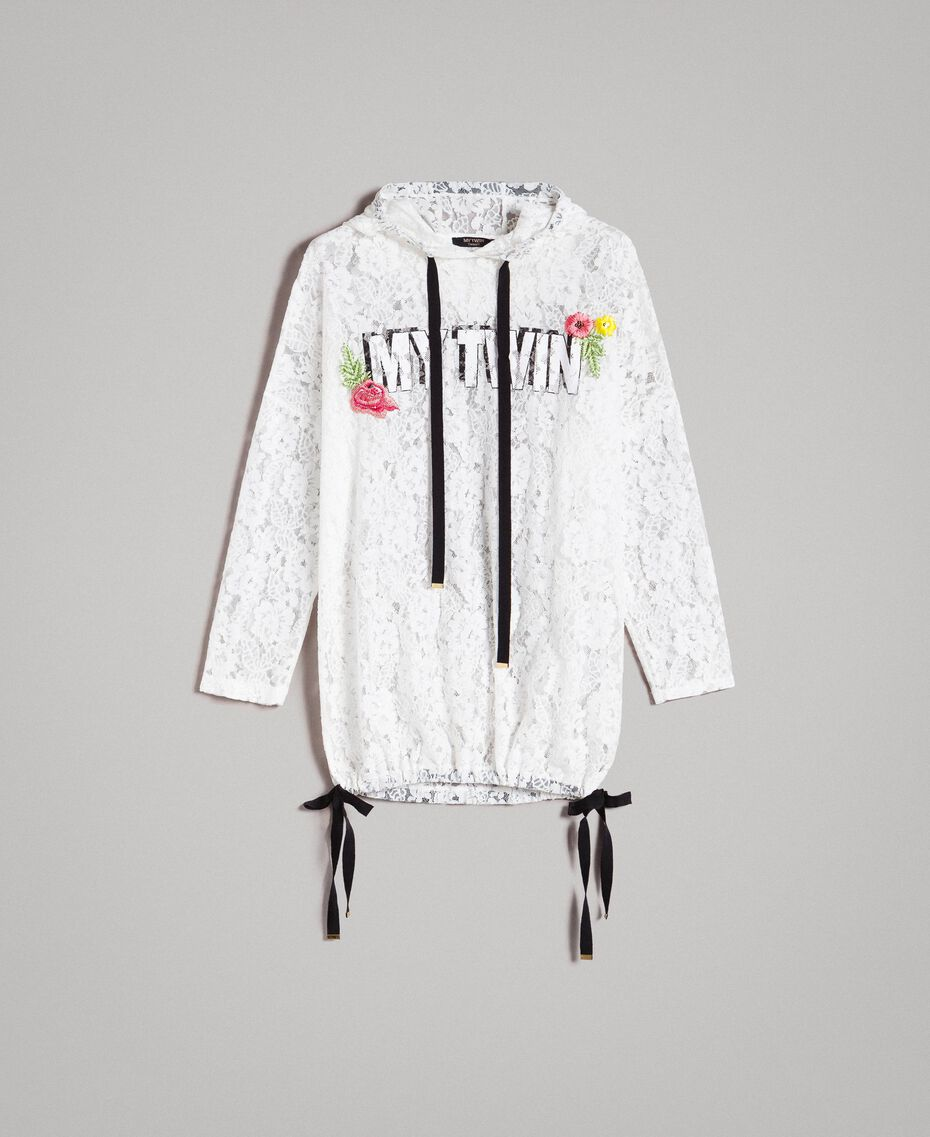 Maxi sweat-shirt en dentelle avec logo et broderie Blanc Femme 191MT2241-0S