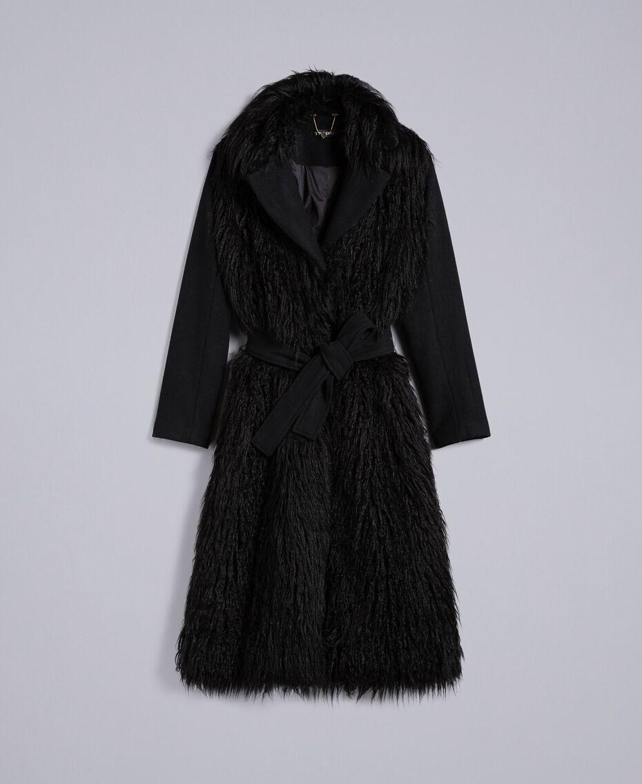 Manteau long en drap et fausse fourrure Noir Femme TA82A5-0S