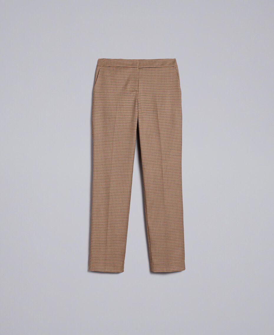 """Pantaloni a sigaretta in misto lana Jacquard Quadretti Arancione """"Bruciato"""" Donna TA821P-0S"""