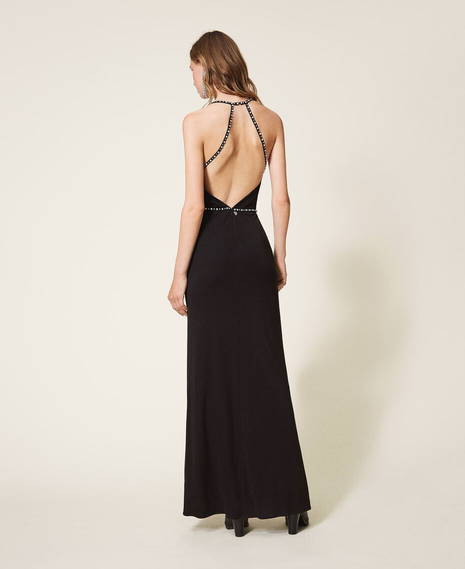 Long dress with embroidery Black Woman 202TP2404-01