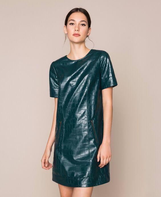 Crocodile print faux leather dress