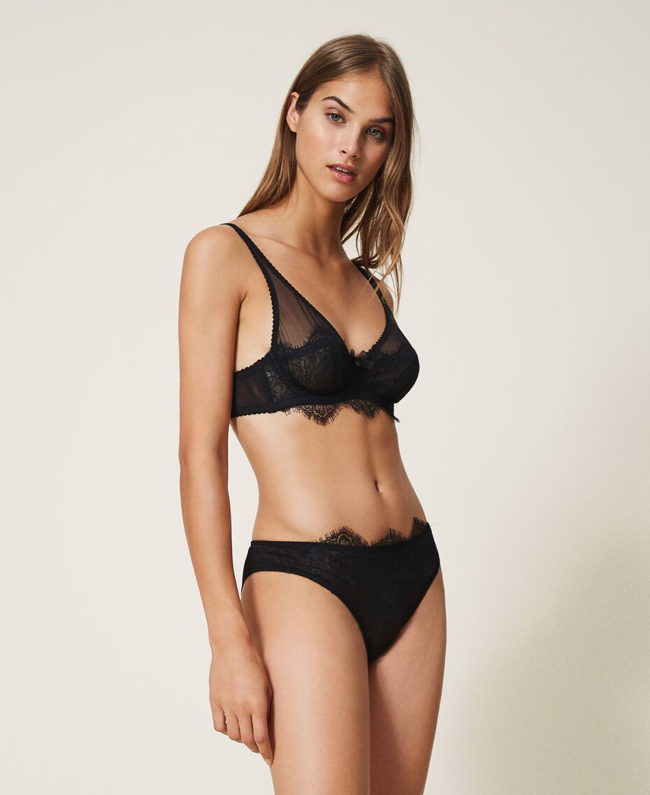 Underwire lace and tulle bra Black Woman 202LI6155-02