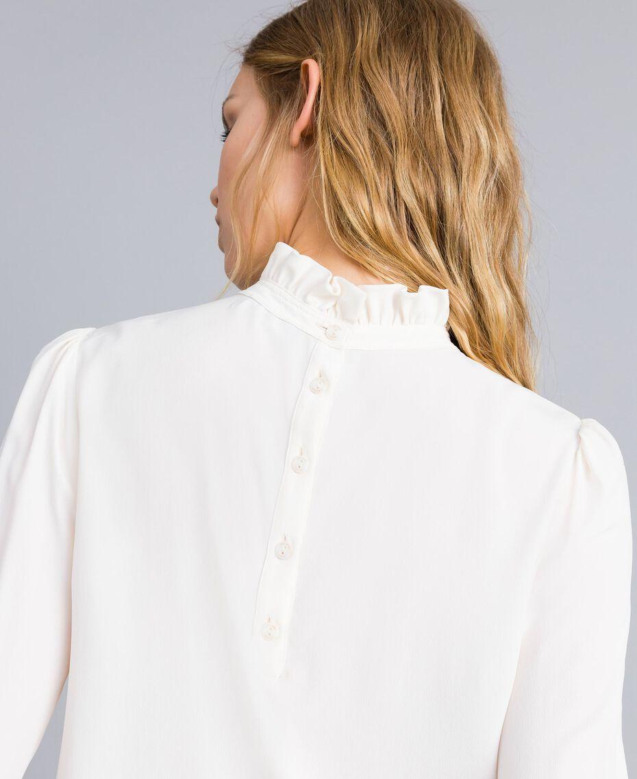 Blusa in misto seta con ruches Nero Donna TA823D-01