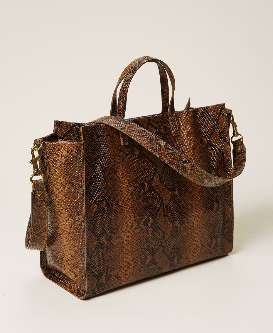 Large Twinset Bag leather shopper Leather Whips Print Woman 212TB7290-03