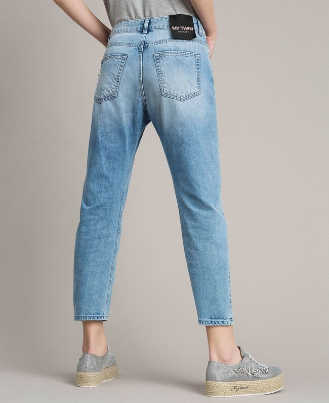 Ripped embroidered girlfriend jeans Denim Blue Woman 191MP2480-03