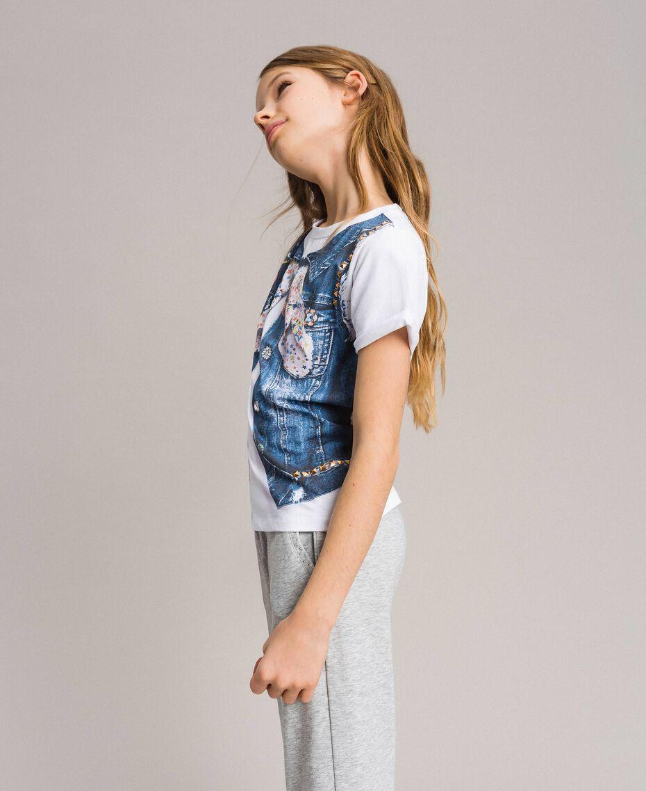 T-Shirt aus Baumwolle mit Aufdruck und Nieten Weiß Kind 191GJ2381-02