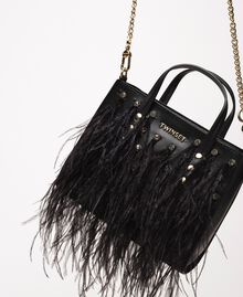 Shoulder bag with feathers and rhinestones Black Woman 201TA7192-01