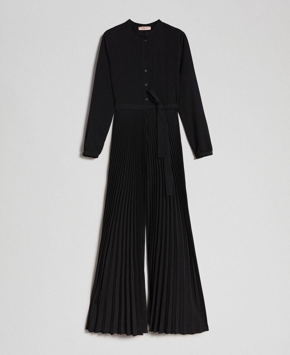 Pleated crêpe de Chine jumpsuit Black Woman 192TT2294-0S