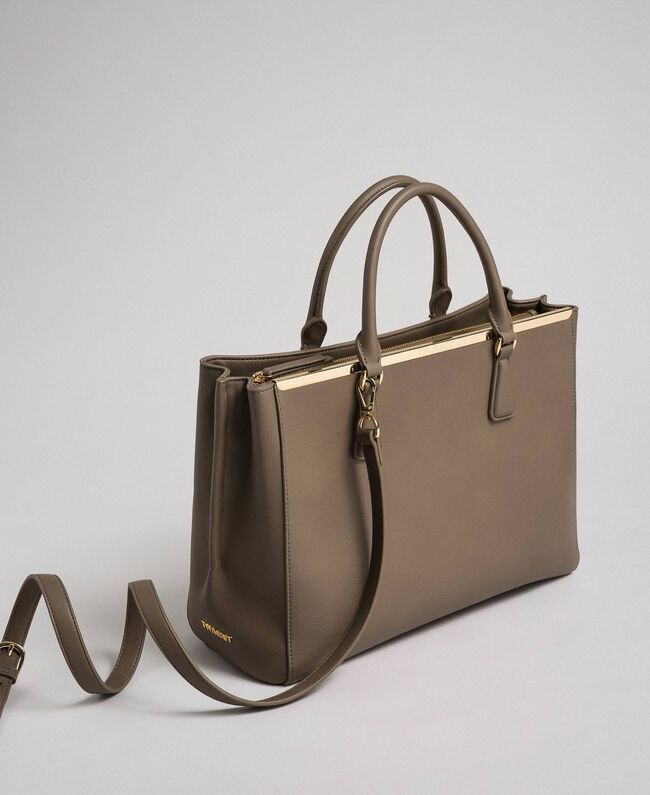 Borsa shopper in similpelle con logo Beige Taupe Donna 192TO8050-01